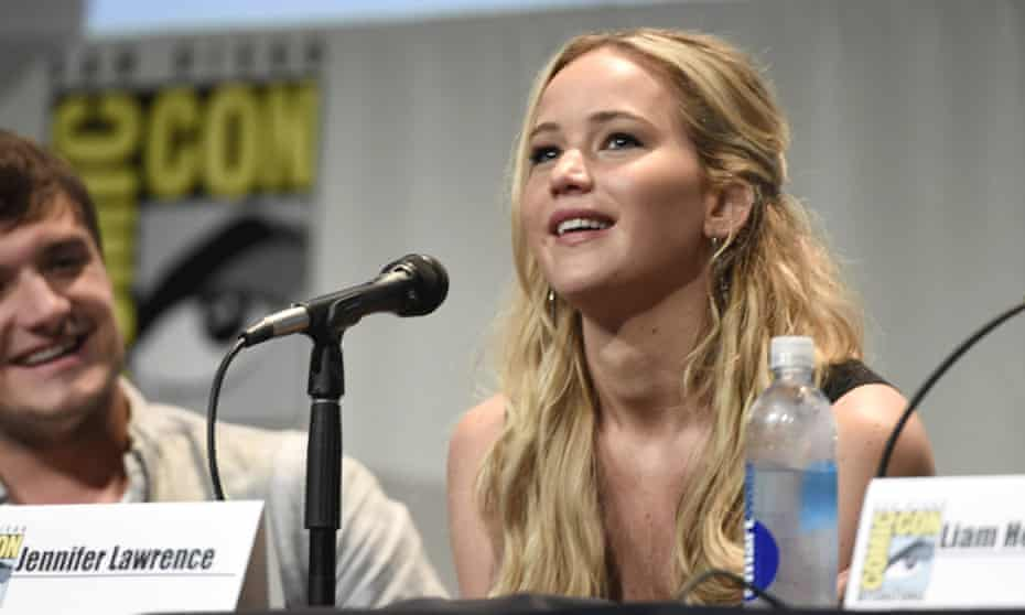 """Jennifer Lawrence speaks at """"The Hunger Games: Mockingjay Part 2"""" panel on day 1 of Comic-Con International on Thursday, July 9, 2015, in San Diego, Calif."""
