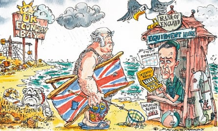 Cartoon by David Simonds showing Mark Carney calculating an interest rate rise