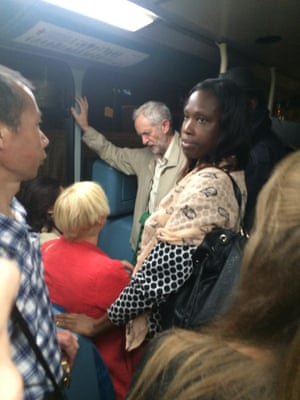 Jeremy Corbyn on the night bus in London earlier this week.