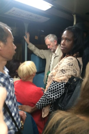 A photograph of Jeremy Corbyn on a night bus in London has gone viral on the internet.
