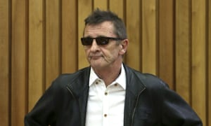 AC/DC drummer Phil Rudd appears in the Tauranga district court in New Zealand.