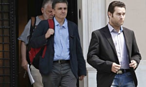 Greek finance minister Euclid Tsakalotos leaving the Maximos Mansion after a meeting with Greek prime minister Alexis Tsipras in Athens on Sunday.