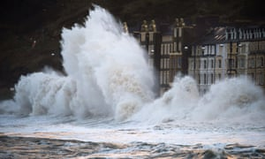 Massive waves to pound the promenade and harbour on January 3, 2014 in Aberystwyth, Wales.