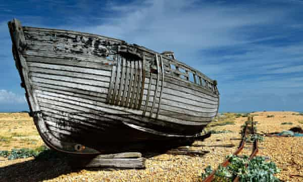 A decaying fishing boat at Dungeness.