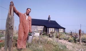Derek Jarman in his arid Dungeness garden.