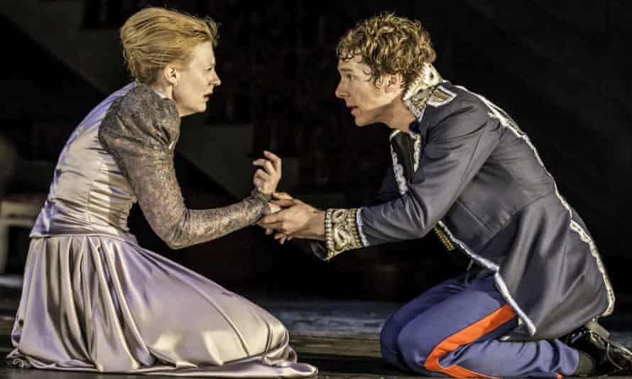 Benedict Cumberbatch with Anastasia Hille in Hamlet at the Barbican, London.