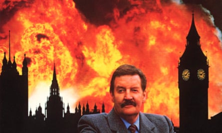 A Very British Coup publicity shot, Westminster on fire