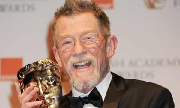John Hurt with his 2012 Bafta award for his outstanding British contribution to cinema.