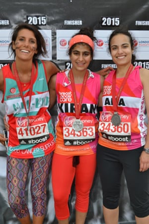 Kiran Gandhi (centre) ran the London Marathon without a tampon, which was seen by many as a radical act.