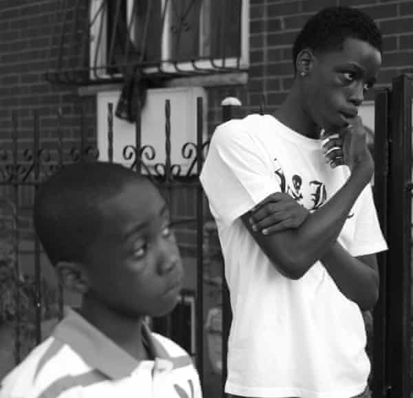 Natasha's sons, Christopher 8, and Rashawn 14, at a memorial for their brother.