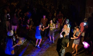 A party in one of the Lower East Side's many gardens.