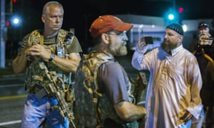 Members of the Oath Keepers in Ferguson on Monday night.