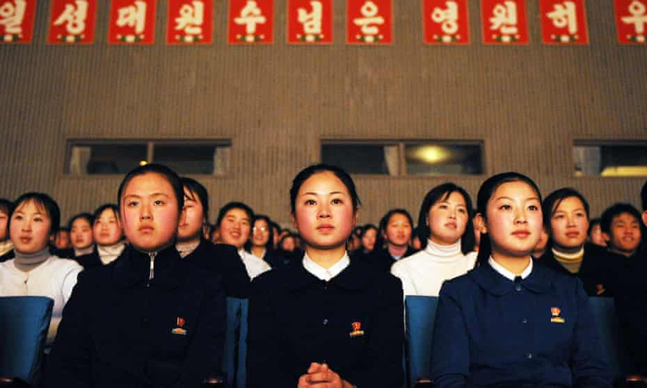 Schoolchildren at Pyongyang's Mangyongdae Palace, a centre for North Korean youth, 2008. Over the last decade, as foreign trade has grown, the need to learn a foreign language has expanded.