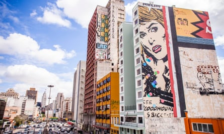 Street art now covers a wall in São Paulo that was previously saturated with billboard advertising.