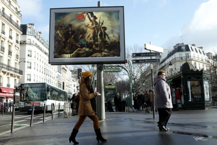 Street artist Etienne Lavie has commandeered advertising space throughout Paris, animating the streets with classic French paintings.