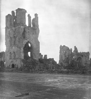 The ruins of Ypres Cloth Hall in 1919