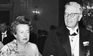 Maria Goeppert-Mayer (1906-1972) at the Nobel ceremony with King Gustaf Adolf