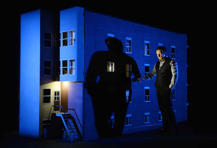 Robert Lepage with a model of the 887 set.