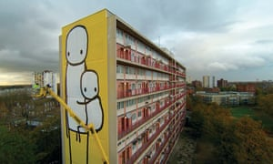 Big Mother by Stik, on the side of Charles Hocking House, a condemned tower block in Ealing, London.