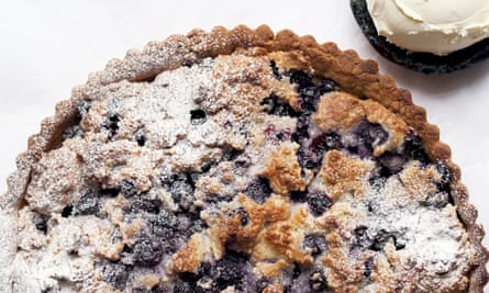 Round blackcurrant and almond tart from Nigel Slater