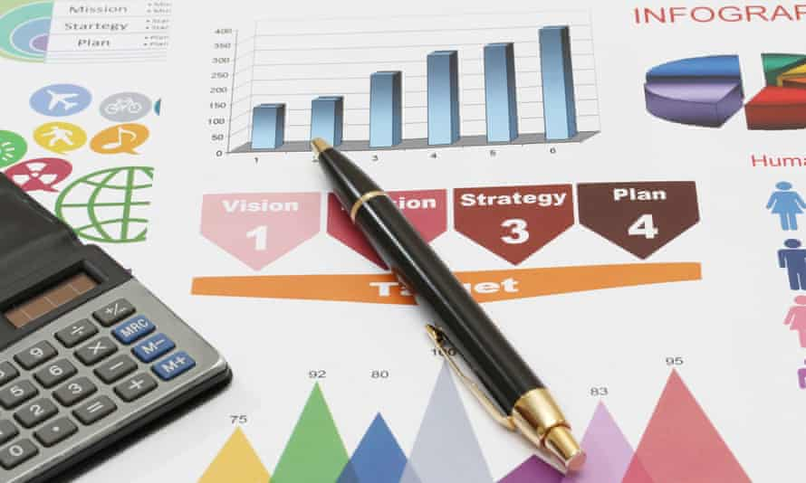 Data charts, calculator and pen.