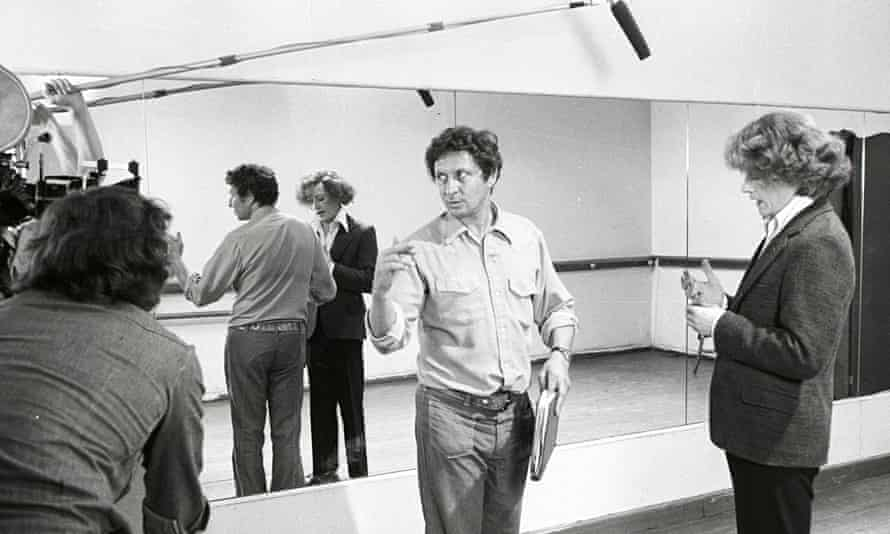 Jack Gold directing John Hurt, right, in The Naked Servant Civil Servant, 1975.