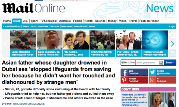 Mail Online's report on the Dubai drowning