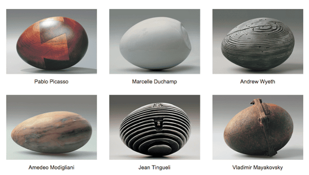 Vladimir Tsesler's 'Twelve from XX' in which prominent artists are represented as eggs