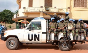 UN peacekeeping soldiers from Rwanda patrolling in Bangui, Central African Republic.