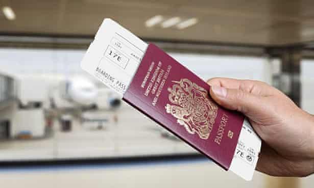 A passport and boarding pass