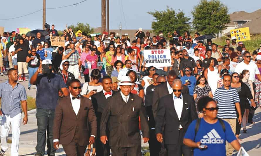 A protest march following aggressive handling of teenagers at a pool party in Texas.