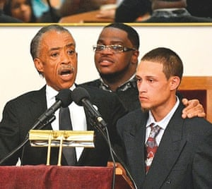 Rev Al Sharpton with Ramsey Orta at the funeral of Eric Garner