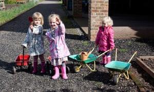 Dig this… children in the walled garden at Shugborough estate.