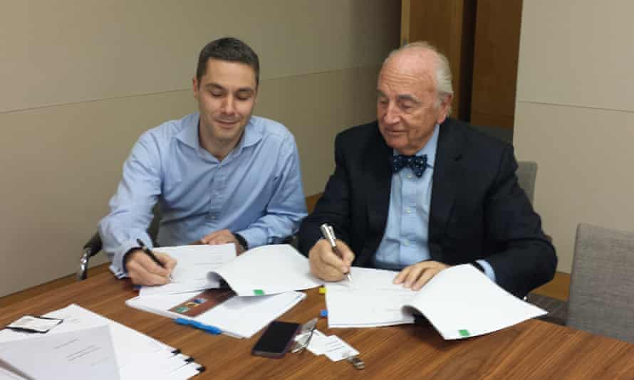 Straight and narrow: with Lord Young, doing the paperwork to sell KashFlow.