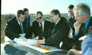 John Prescott visiting the site of the Barking Reach housing development in the 1990s.