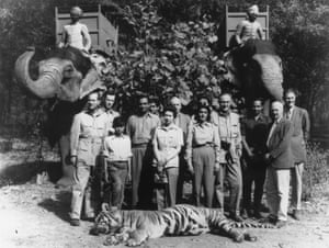 Prince Philip with Prince Jagat-Singh (with his foot on tiger's head), the maharaja of Jaipur, the Queen and the maharani of Jaipur. The animal was shot by Philip during a tiger hunt while the royal couple were on a tour of India in 1961.