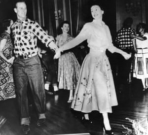 The Duke of Edinburgh with his wife at a square dance held in their honour in Ottawa, October 1951, during their Canadian tour.