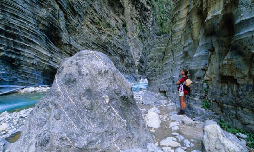Woman standing in Samaria Gorge, Crete.