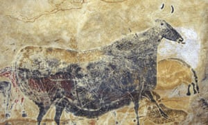 Cave painting of a bull from the stone age