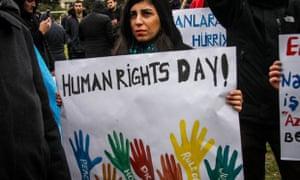 A protestor marks International Human Rights Day in Baku, Azerbaijan, back in 2014.