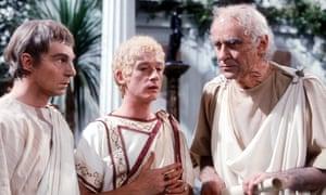 Derek Jacobi, John Hurt and George Baker in I, Claudius, in 1976.