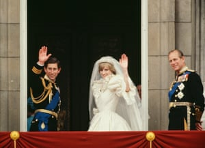 Charles and Diana wave from the Buckingham Palace balcony after their wedding in 1981, accompanied by Prince Philip.