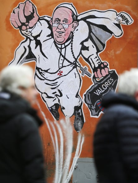 A mural of Pope Francis in downtown Rome near the Vatican.