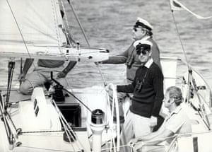 Prince Philip sailing in the 1979 Cowes regatta.