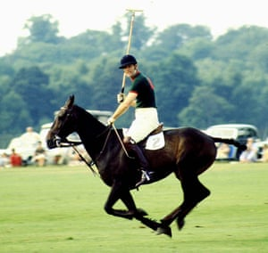 Prince Philip in the colours of Windsor Park polo club at Smiths Lawn, Windsor, 1970.