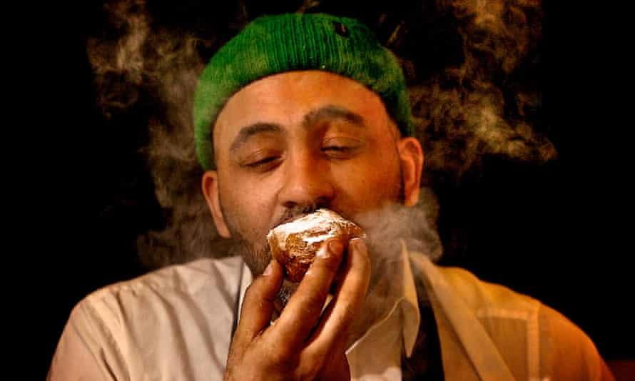 Noah Tucker eating a  marijuana chocolate fondant