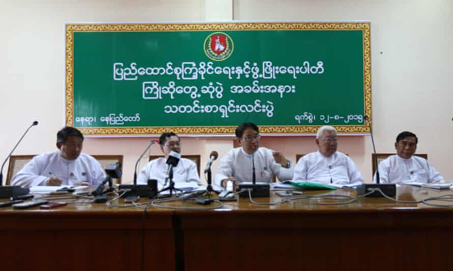 Leaders of Myanmar's ruling Union Solidarity and Development party give a press conference on Wednesday in Naypyidaw.