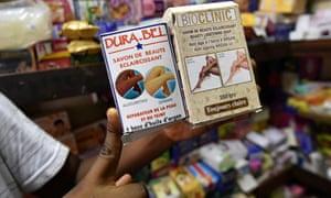 Skin whitening products on sale in Abidjan.