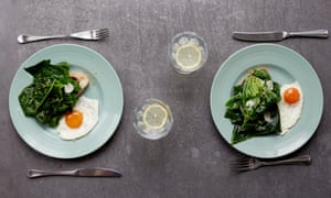 Tarragon and garlic spring greens with fried eggs