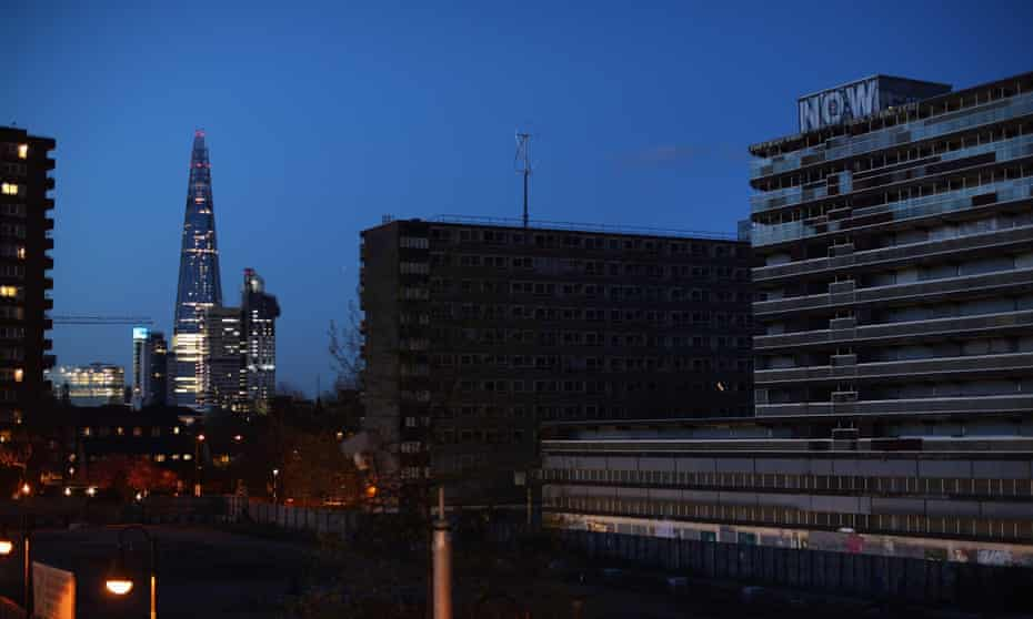 London's Heygate Estate with the Shard in the background